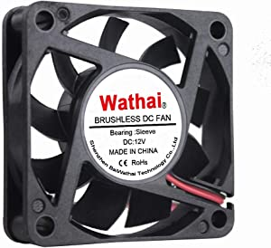 Wathai DC Exhaust Cooler Fan 60mm x 60mm x 15mm 12V 2Pin Brushless Cooling Fan