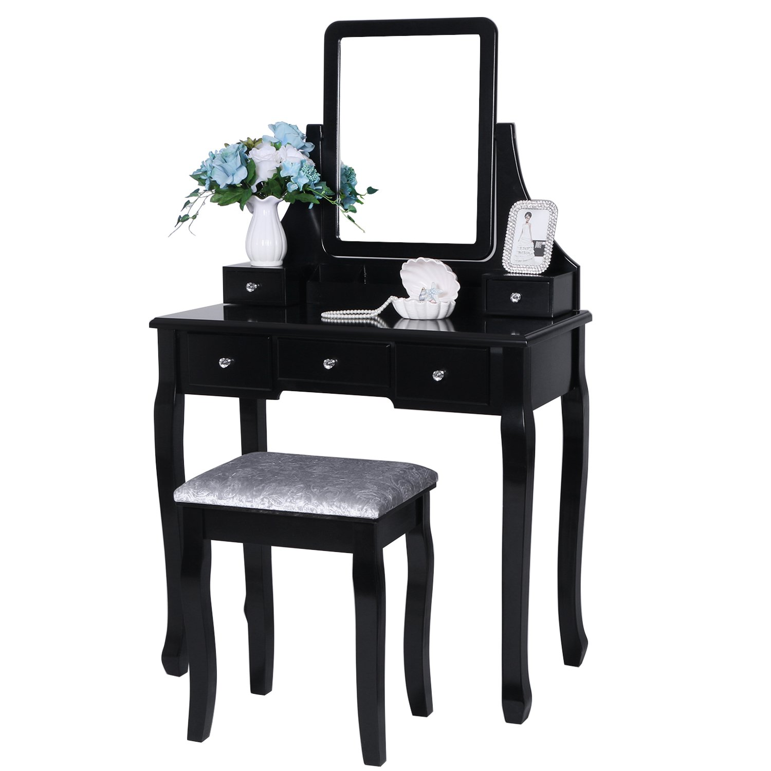BEWISHOME Vanity Set with Mirror & Cushioned Stool Dressing Table Vanity Makeup Table 5 Drawers 2 Dividers Movable Organizers Black FST01H by BEWISHOME