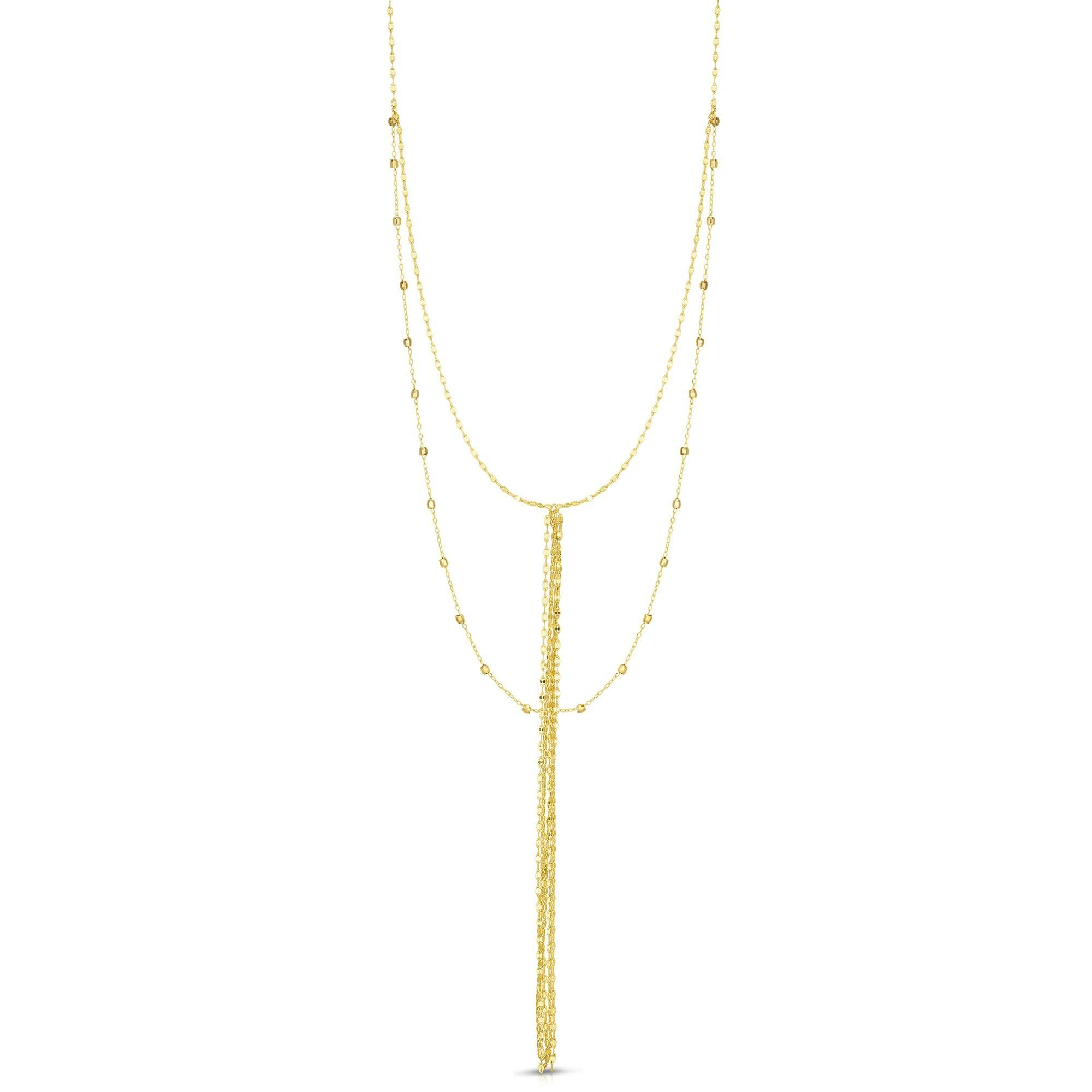 14k Yellow Gold Double Layer Diamond Cut Beads Tassel Lariat Necklace, Adjustable 16''-18'' by Beauniq (Image #1)