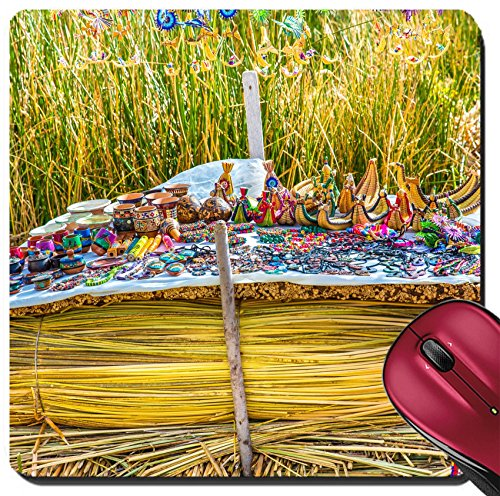 Liili Suqare Mousepad 8x8 Inch Mouse Pads/Mat Souvenir on Floating islands Titicaca lake Peru South America Street shop with colorful blanket scarf cloth ponchos ornaments Image ID - On Shops Lake
