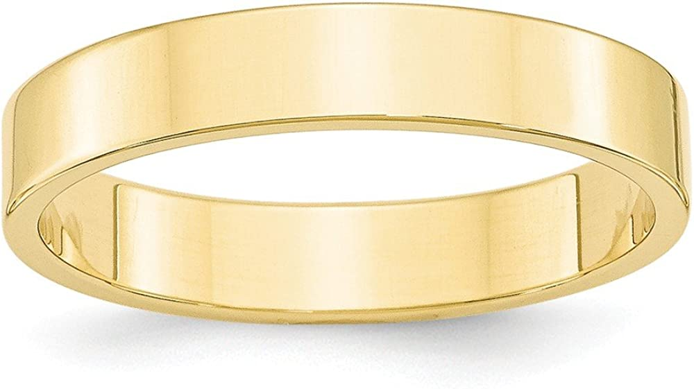 Brilliant Bijou 10k Yellow Gold 4mm LTW Flat Mens Womens Wedding Anniversary Band