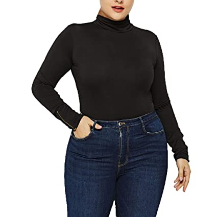 2c7da1b7fb2c3 HKDGID Plus Size!! Women s Basic High Collar Round Neck Slim Jumpsuit  Bodysuit Top Sexy Casual Long Sleeve Solid Stretchy Shapewear Rompers  Leotard Tops S- ...