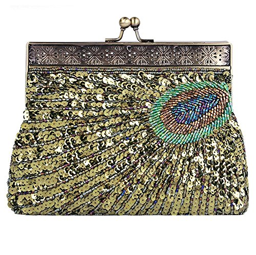 Evening Dinner X green Bags NVBAO Peacock Vintage Beaded X Party Sequin Antique 14 Handbag Purse£¬22 4cm Clutch aAX0q