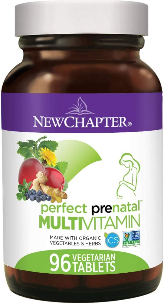 New Chapter Perfect Prenatal Vitamins, 96 ct, Organic Non-GMO Ingredients – Eases Morning Sickness with Ginger, Best Prenatal Vitamins Fermented with Wholefoods for Mom Baby