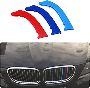 Für 09 12 3 Serie E90 E91 12 Gitter 3 Colors M Styling Front Grille Trim Strips Cover Stickers 3stück Auto