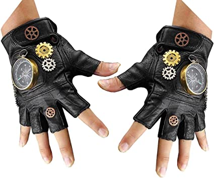 Women/'s Steampunk Gothic Cosplay Half Finger Finglerless Lace Leather Gloves