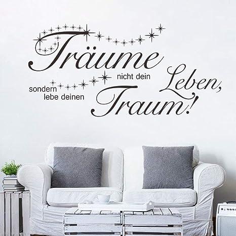 decalmile Wandtattoo Sprüche und Zitate Träume Nicht Dein Leben Wandsticker  Schwarz Wandaufkleber Schlafzimmer Büro Wohnzimmer Wanddeko