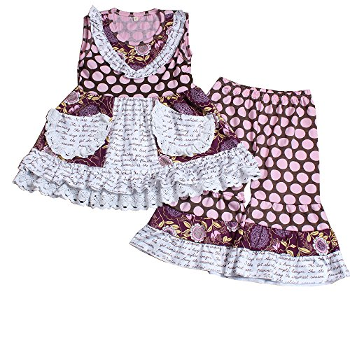 Yawoo Haan Toddler Girls Summer Dress Capri Set Baby 2PCS Clothes A 2T ()