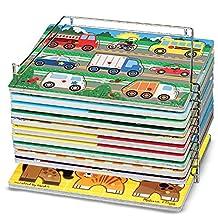 Melissa & Doug Puzzle Storage Rack - Wire Rack Holds 12 Puzzles