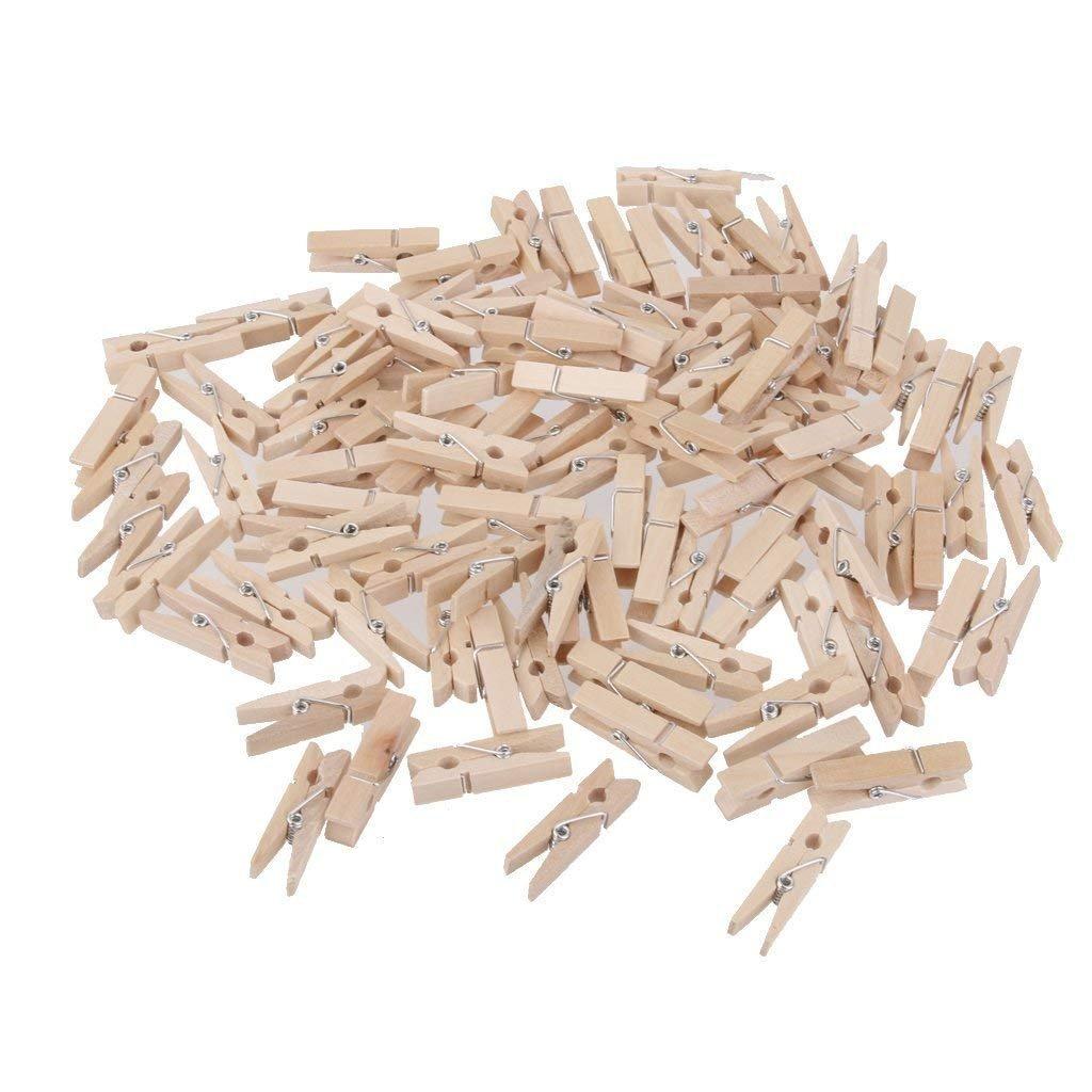Pinzas de madera para colgar fotos, manualidades, pinzas decorativas para colgar fotos, manualidades, 100 unidades, 2,5 cm HeartService