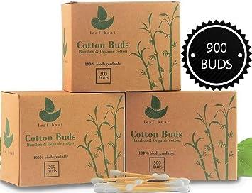 Bambú algodón Buds | 1 caja (300 piezas) | Orgánico | Compostable ...