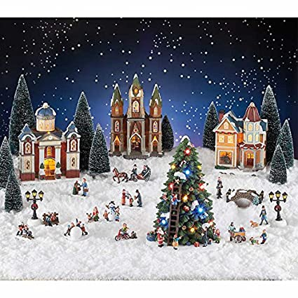 30 piece holiday christmas village with led lights and music plays 8 classic christmas songs