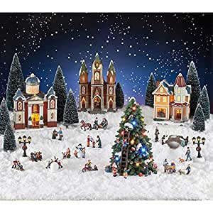 Amazon Com 30 Piece Christmas Village With Led Lights And