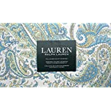 Lauren Ralph Lauren Bedding 3 Piece Full / Queen Duvet Cover Set Blue Yellow Spring Green Floral Paisley Pattern on White