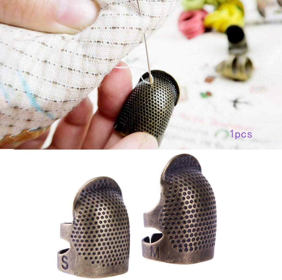 Adjustable Thimble Household Sewing Embroidery Threading Hoop Thimble Protection Non-Slip Ring Finger Sleeve Retro Thimbles