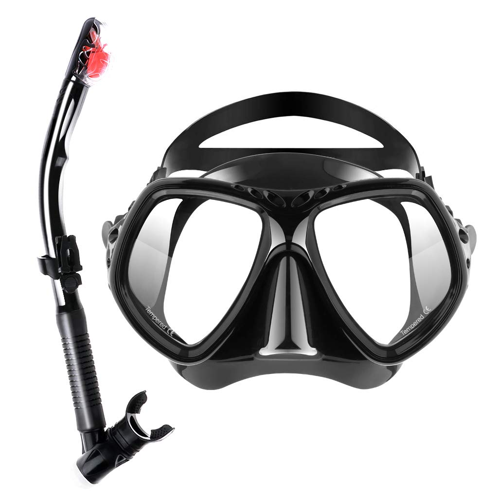 Seafard Dry Snorkel Set, Anti-Fog Snorkeling Mask with Impact Resistant Panoramic Tempered Glass and Free Breathing Anti-Leak Dry Top Snorkel for Adult Youth by Seafard