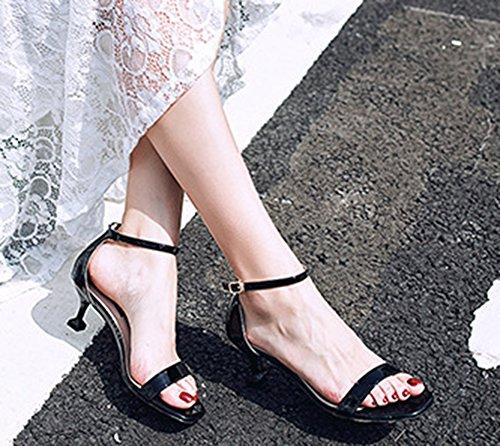 Aisun Cheville Femme Kitten Noir Sandales heel Bride Formel aarwTR