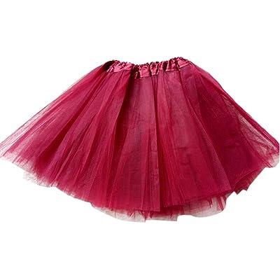 GOGO TEAM Girl's Tutu Skirt Ballet Dance Skirt Party Fairy Costume Skirt-Burgundy: Clothing