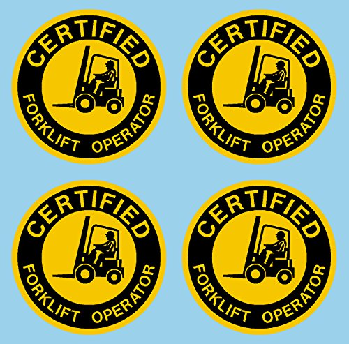 """Certified Forklift Operator Hard Hat Hardhat Decal Sticker Placard 2""""W X 2""""H - Sold in Package of 4"""