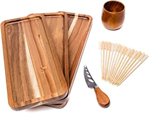 Serving Wooden Platters Set of 3 Different Sizes, Trays of Natural Acacia Wood with Edge, Extra Cheese Knife, Rustic Cup, 15 Paddle Bamboo Pick Skewers