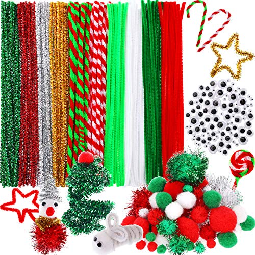 Bememo 350 Pieces Christmas Pipe Cleaners Sets, Including 120 Pieces Christmas Pipe Cleaners, 130 Pieces Colorful Pom Poms and 100 Pieces Self Adhesive Wiggle Eyes for DIY Art