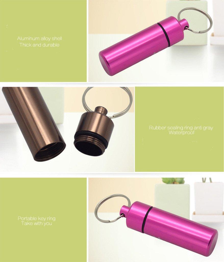 Yunko 6 Pcs Waterproof Aluminum Pill Bottle Organizer Box Case Drug Holder Keychain Container Travel Medicine Storage Color Random by YunKo (Image #5)