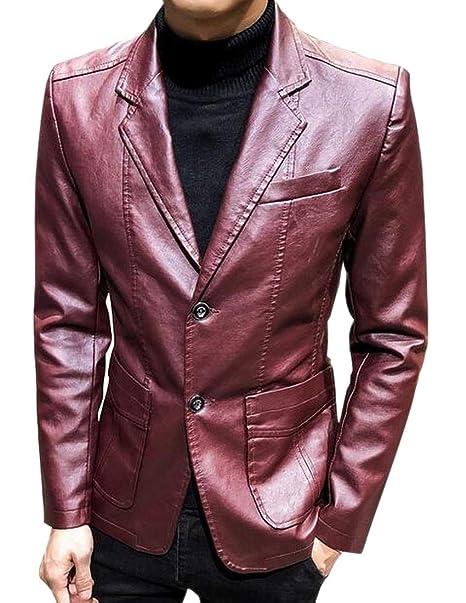 giacca finta pelle rossa uomo