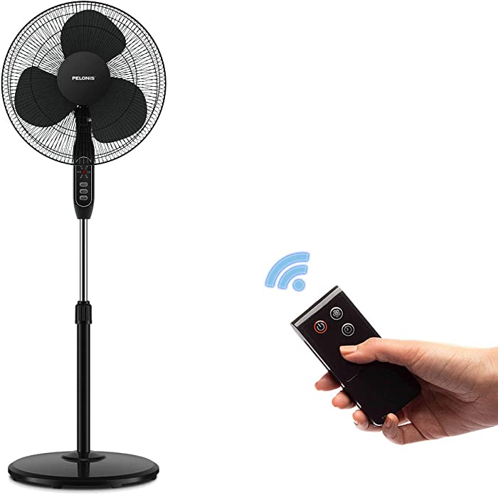 Pelonis 16''3-Speed Oscillating Pedestal Fan with 7-Hour Timer, Remote Control and Adjustable in Height, FS40-16JRB,Black
