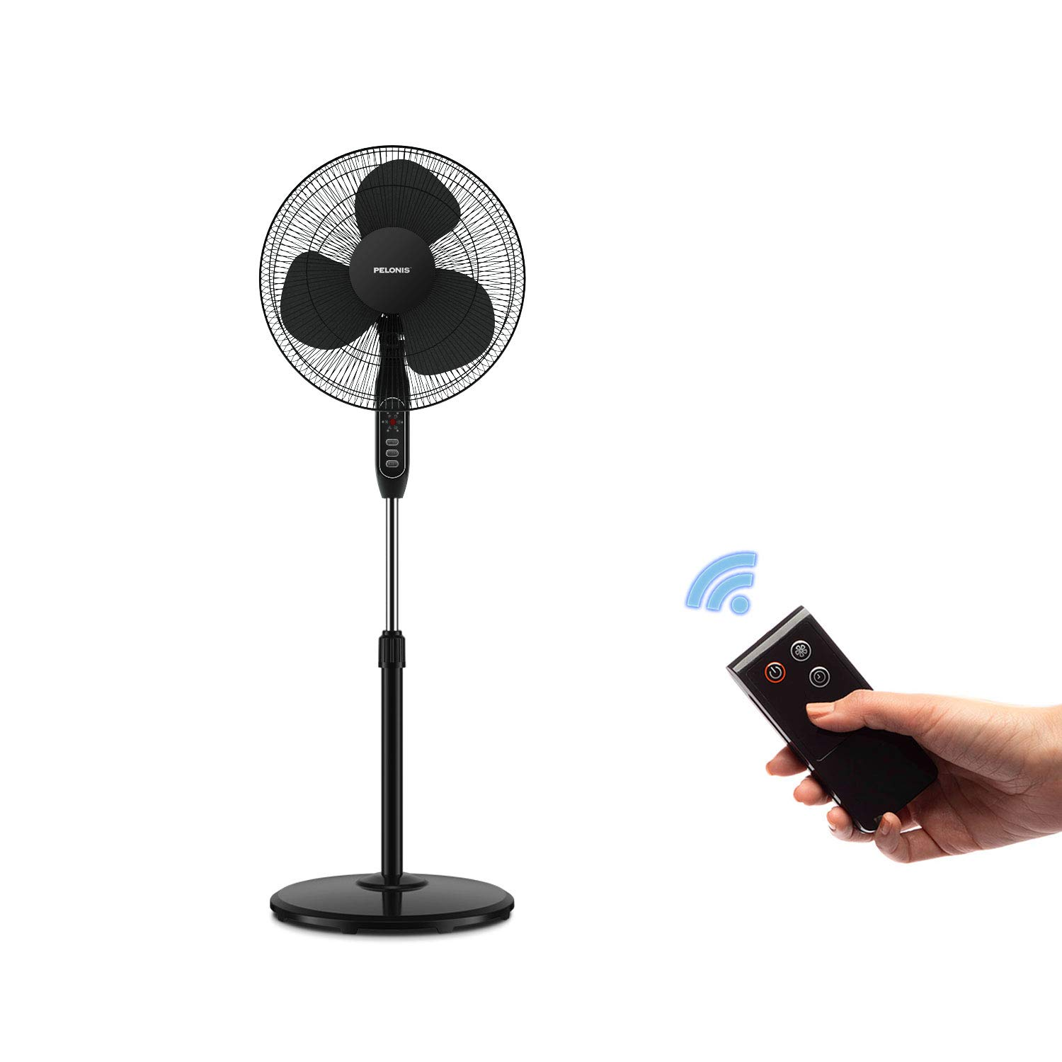 Pelonis 16 3-Speed Oscillating Pedestal Fan with 7-Hour Timer, Remote Control and Adjustable in Height, FS40-16JRB,Black