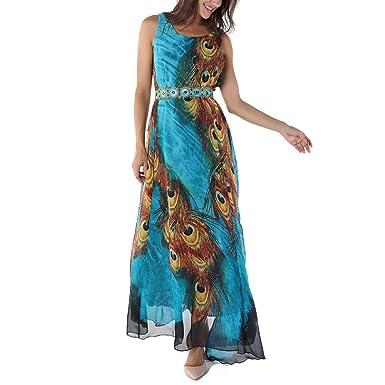 e930b8f4aece OMONSIM Women's Peacock Printed Bohemian Sleeveless Maxi Dress with Belt  (Blue, Small)