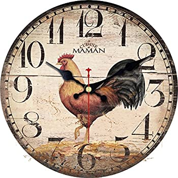 Amazon.Com: Rooster Wall Clock Farmer Kitchen Home Décor Rise And