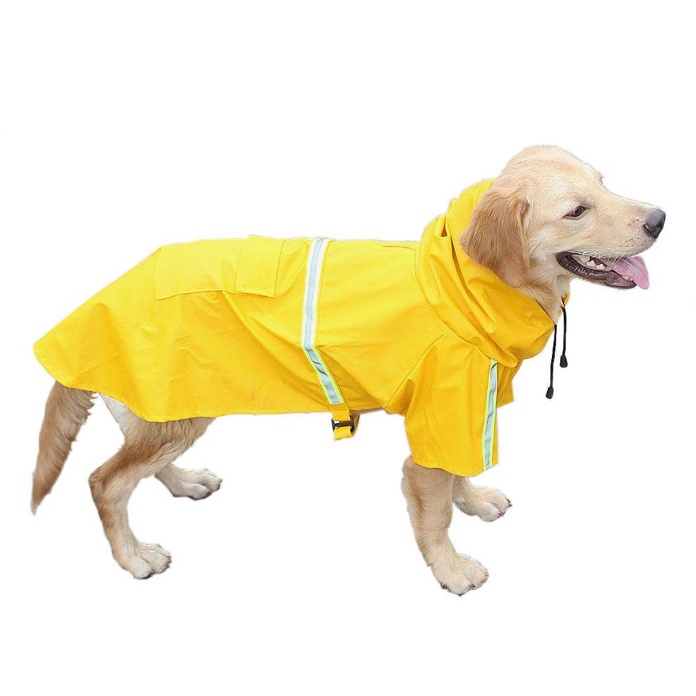Do4U Raincoat for Dogs Large Medium Waterproof Reflective Stripe Dog Slicker Cloth Coat Jacket Fashion Autumn Winter (4XL, Yellow)