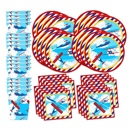 Airplane Birthday Party Supplies Set Plates Napkins Cups Tableware Kit for 16