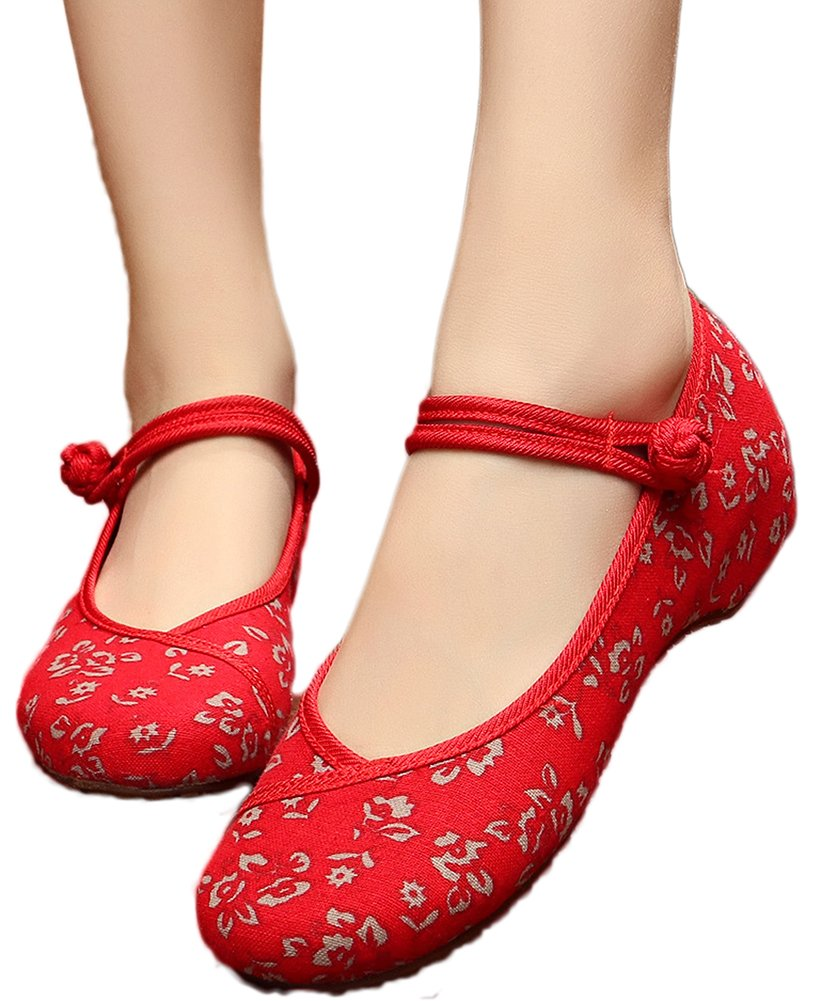 AvaCostume Womens Flower Painting Flats Mary Jane Qipao Dress Shoes, Red 39