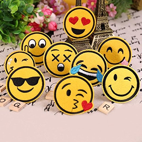 - Fabric Patch - 8pcs Funny Smile Face Diy Applique Embroidered Sew Iron On Patch - Beige Jeans Cool Kiss Coffee Variety Horror Mushroom Personalized Duty Fabric Studios Cute Dark Earth Planets