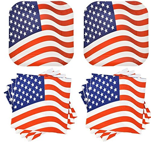 Flag Plate Set (Patriotic American Flag Paper Plates and Napkins Set - 28 Plates + 40 Napkins)