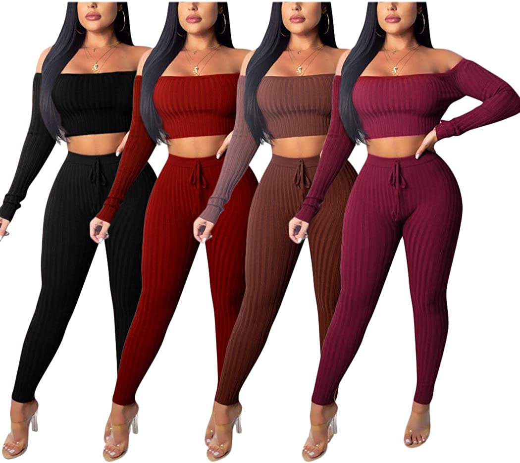 Women's 2 Piece Outfits Knitted Off Shoulder Long Sleeve Crop Top Tracksuits Wine Red