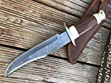 Custom Damascus Hunting Knife – Beautiful Bowie Fixed Blade Knives