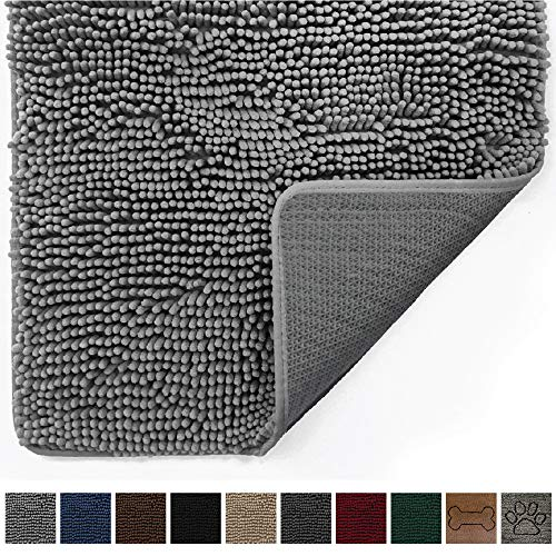 Gorilla Grip Original Indoor Durable Chenille Doormat, 30x20, Absorbent, Machine Washable Inside Mats, Low-Profile Rug Doormats for Entry, Mud Room, Back Door, High Traffic Areas, Gray