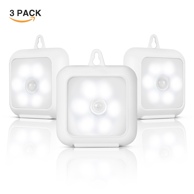 モーションセンサーナイトライト、コードレスバッテリ駆動式LED夜間ライトwith Stander、マグネット、stick-anywhereクローゼットパックライト、階段ライト、ライト、安全ライトforワードローブ、浴室、キッチン(パックof 3 ) B0799QS2WG 14860