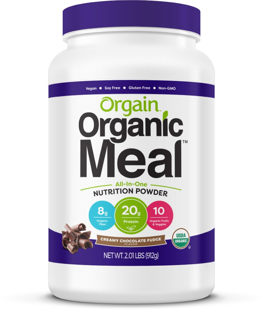 Orgain Organic Plant Based Meal Replacement Powder, Creamy Chocolate Fudge - 20g Protein, Vegan, Dairy Free, Gluten Free, Lactose Free, Kosher, Non-GMO, 2.01 Pound (Packaging May Vary) by Orgain