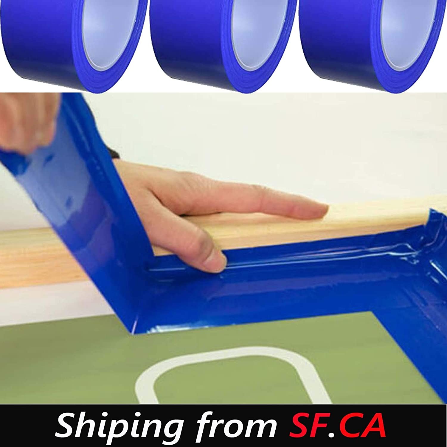 36yds ,6 Rolls,Silk Screen Printing Block-Out Blue Tape,Solvent and Water Resistant 3x108ft