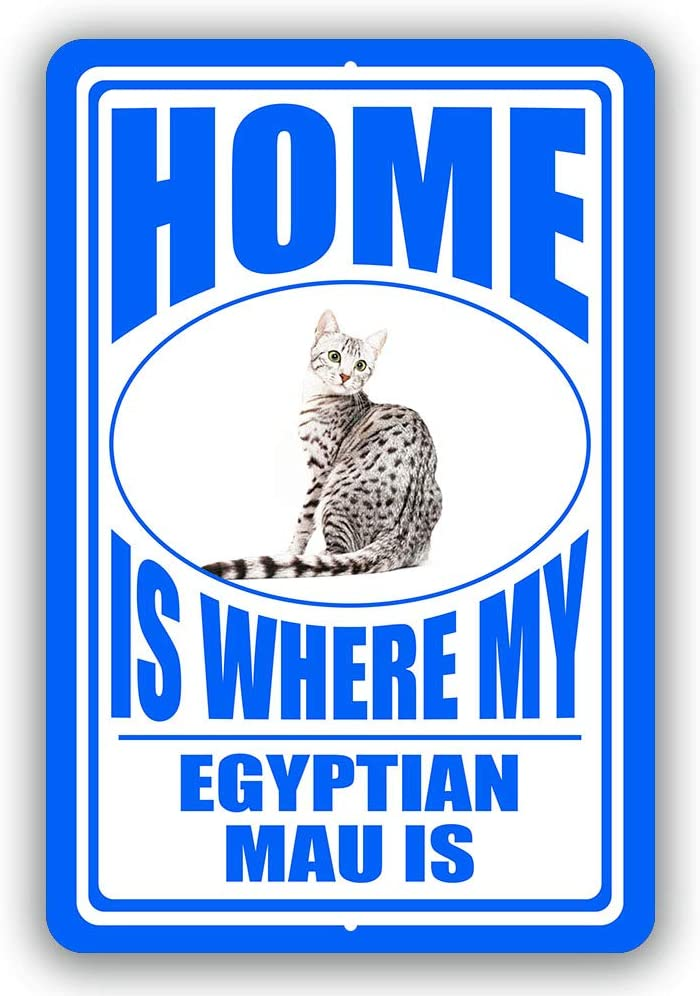 "Home is Where My Egyptian Mau Cat Man cave Sign Tin Indoor and Outdoor use 8""x12"" or 12""x18"""