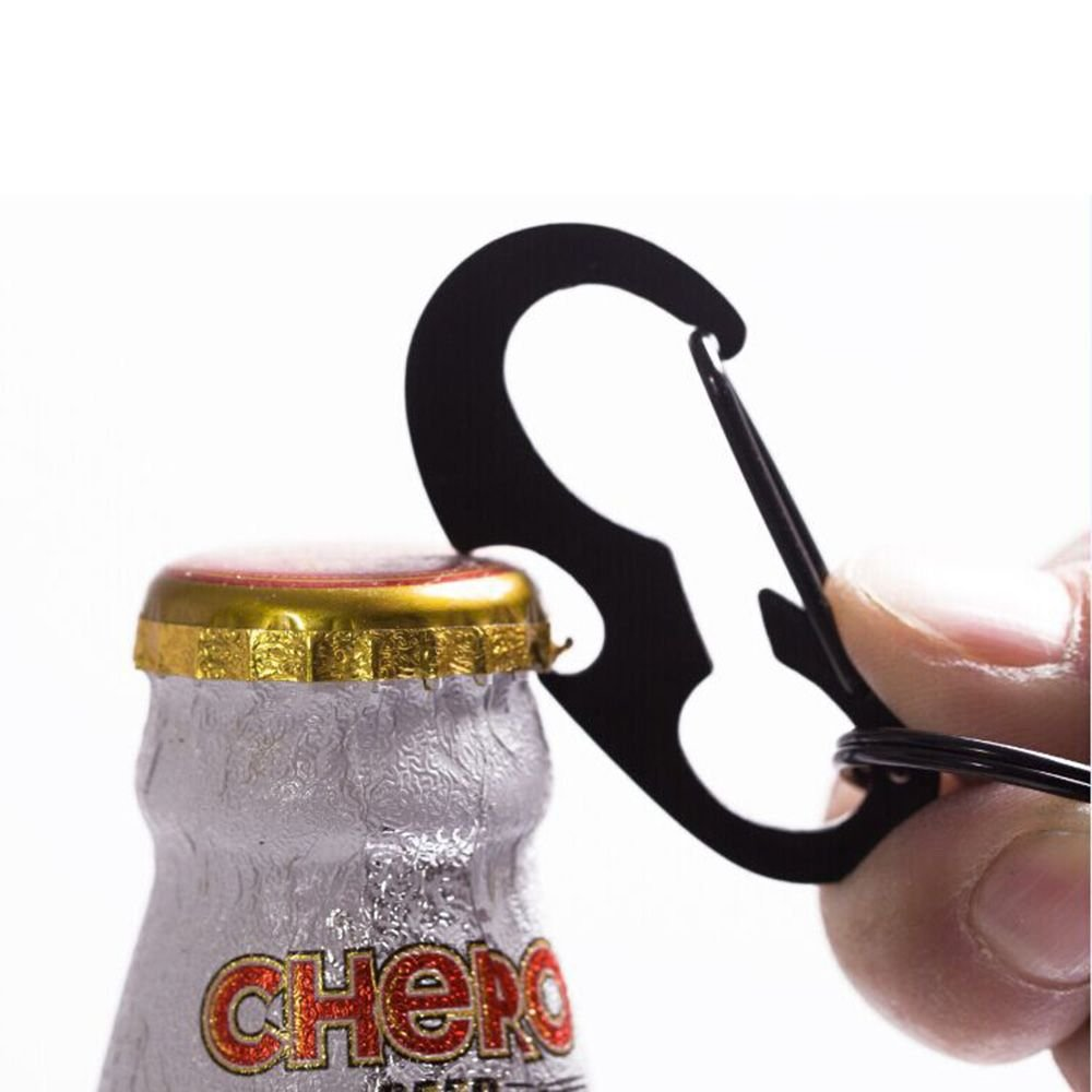 1Pcs Stainless Steel D Carabiner Bottle Opener Spring Hook Buckle With Keyring