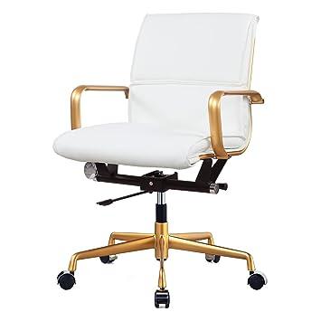 Amazoncom MEELANO 330GDWHI Vegan Leather Office Chair Gold