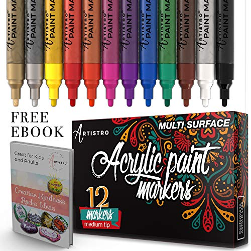 Paint Pens for Rock Painting, Ceramic, Porcelain, Glass, Wood, Fabric, Canvas. Set of 12 Permanent Acrylic Paint Markers Medium Tip