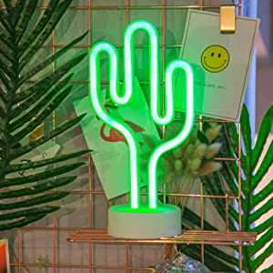 Cactus Neon Light Wall Decor Neon Signs for Bedroom Kids with Table Stand Battery and USB Powered Night Light Home Decoration