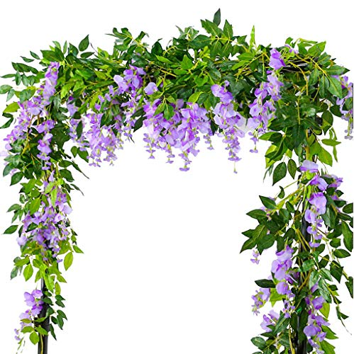 Lannu 6.6FT 2 Pack Artificial Wisteria Flowers Fake Garland Hanging Silk Ivy Vine Wedding Party Home Garden Wall Decoration, Lavender from Lannu