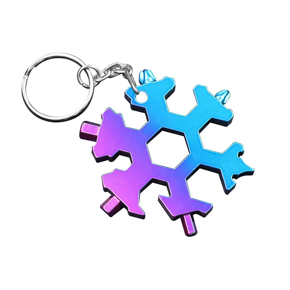 MONsin Snow Keychain Tool, 19-in-1 Multi-Tool Wrenches Combination Compact Snowflake Tool with Keychain (Multicolor)