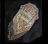 100 Year Old FLAT Mesh VIVID Brown & Black Geometric Enameled Evening Bag, Art Deco Flapper Purse,Flat Liquid Movement Pointed Top and Bottom